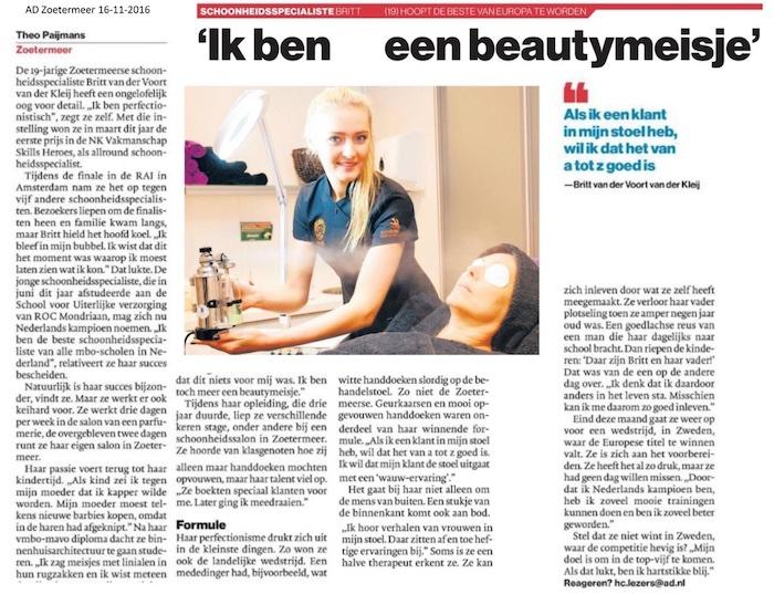 AD artikel ik ben een beautymeisje